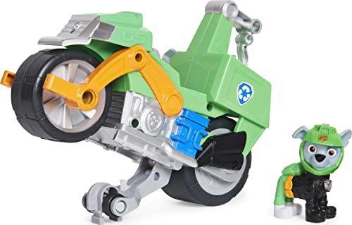 PAW Patrol 6060545 Moto Pups Rocky''s Deluxe Pull Back Back Motocykl z funkcją Wheelie i figurką