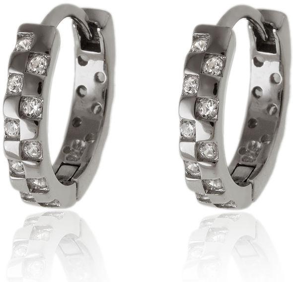 Eleganckie srebrne kolczyki klasyczne kółka circle ring białe cyrkonie srebro 925 K2862
