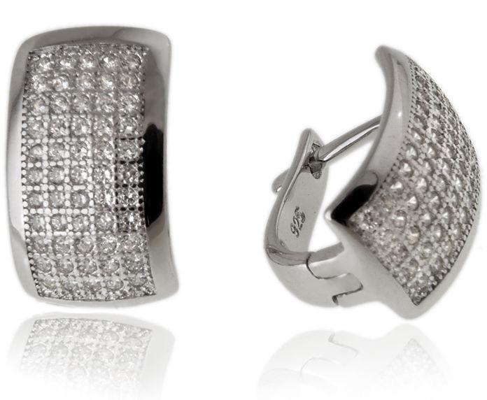 Eleganckie wiszące rodowane srebrne klasyczne kolczyki białe cyrkonie srebro 925 K2864