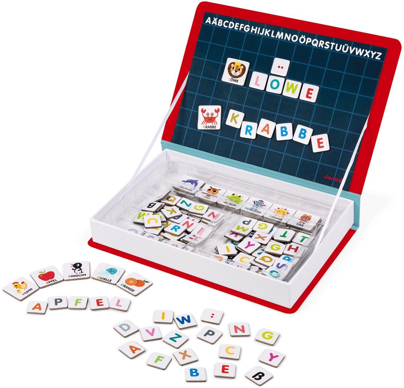 Janod J02713 Magneti''Book Alfabet Gra edukacyjna, wersja niemiecka