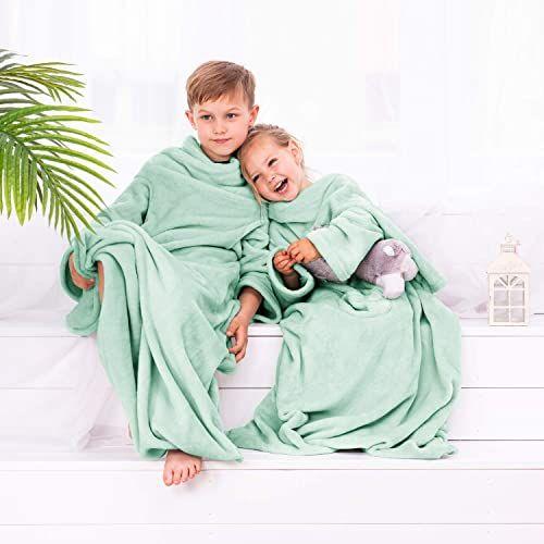 DecoKing Kiddo przytulny koc z rękawami dla dzieci, poliester, mięta, 90 x 105 cm