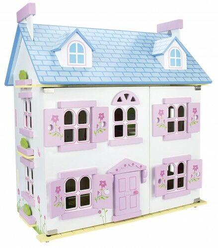 Willa Alpejska Niebieska-kolory - domek dla lalek z wyposażeniem i laleczkami