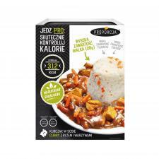 Kurczak w sosie curry z ryżem i warzywami 300 g Proporcja