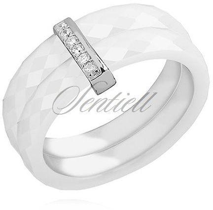 Podwójny pierścionek ceramiczny biały ze srebrnym (pr. 925) elementem - prostokąt z cyrkoniami