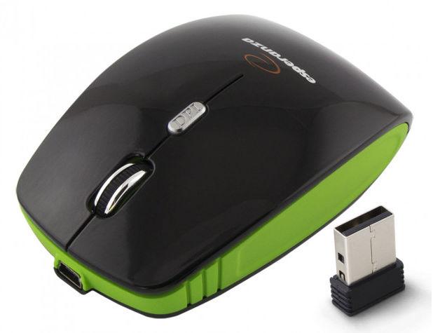EM121G Mysz bezprzewodowa 2.4GHz 4D optyczna USB Charger zielona