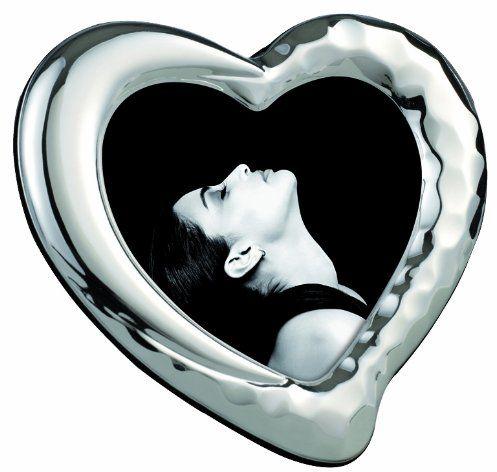 Mascagni 864, Shiny metalowa ramka na zdjęcia, Argentovivo, w kształcie serca, srebrna, 10 x 10 cm, 4 x 4 cm