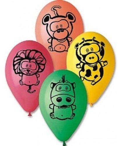Balony Premium 12 Zwierzęta z dżungli, 5 szt.
