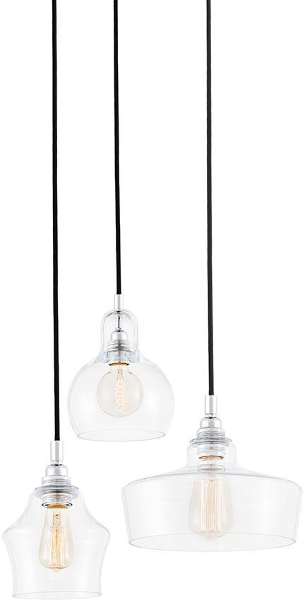 Lampa wisząca Longis 3 10525309 oprawa chromowa / przewody czarne Kaspa
