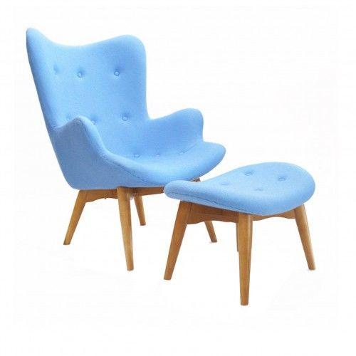 Fotel z podnóżkiem - inspirowany proj. Grant Featherston - błękitny