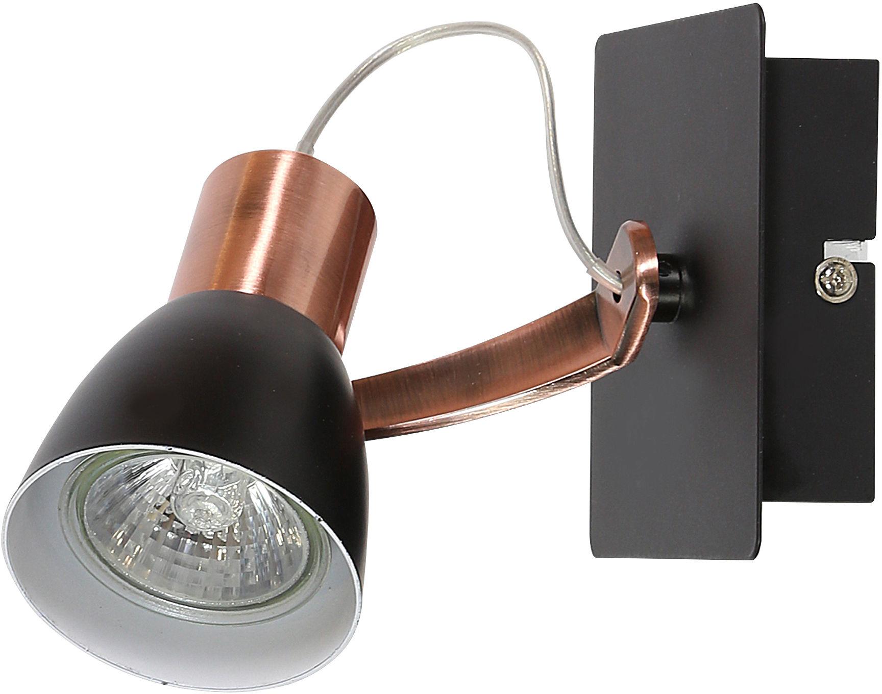 Candellux MARKUS 91-35554-M kinkiet lampa ścienna czarny+miedziany metalowe abażurek regulacja 1X50W GU10 CZARNY+MIEDZIANY 6,5cm