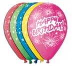 """Balony Premium 12"""" Happy Birthday i fajerwerki, 5 szt."""