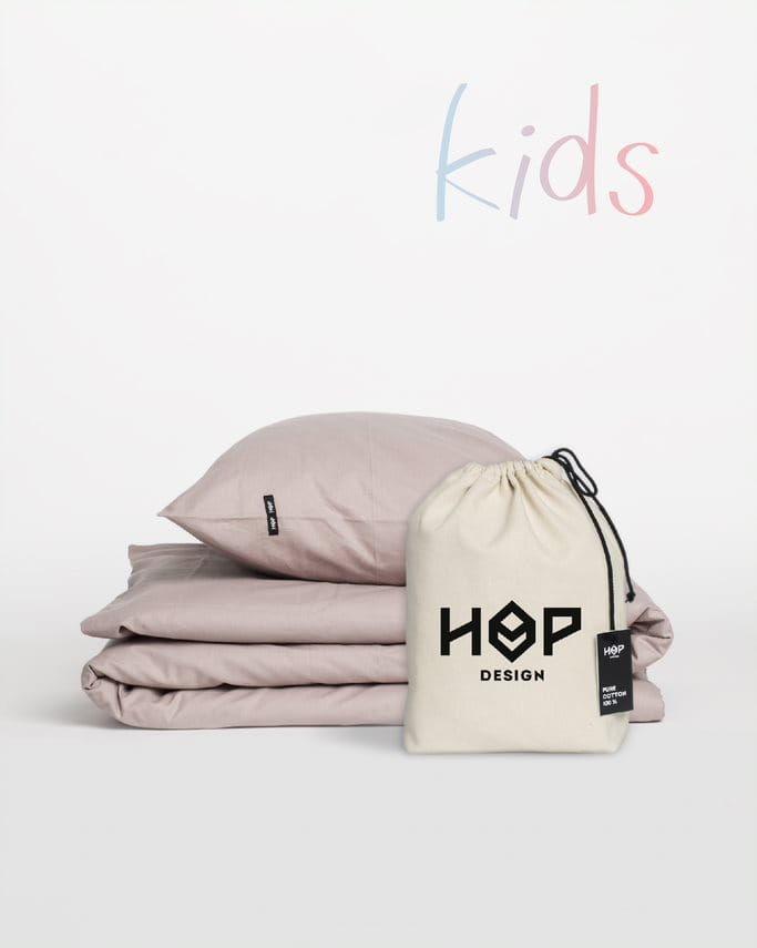 Pościel Perkal 90x120 Hop Design Kids Pure Brudny Róż