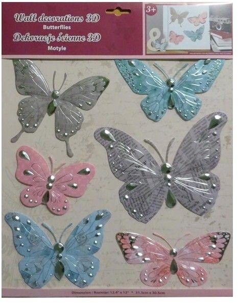 Dekoracje ścienne 3D - Motyle 2