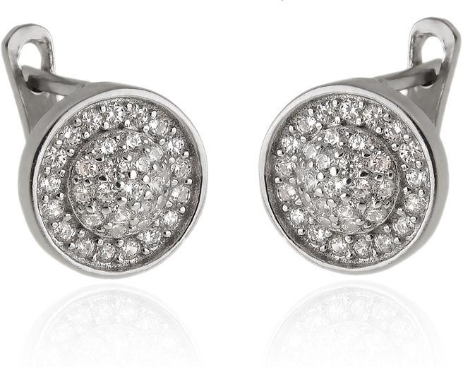 Eleganckie wiszące rodowane srebrne klasyczne kolczyki kółko circle coin białe cyrkonie srebro 925 K2876