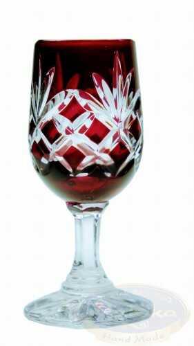 Rubinowe kryształowe kieliszki do wódki 25ml Ananas 6 sztuk