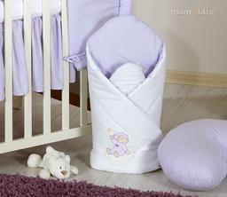 MAMO-TATO Rożek niemowlęcy usztywniony z haftem Miś na chmurce w fiolecie