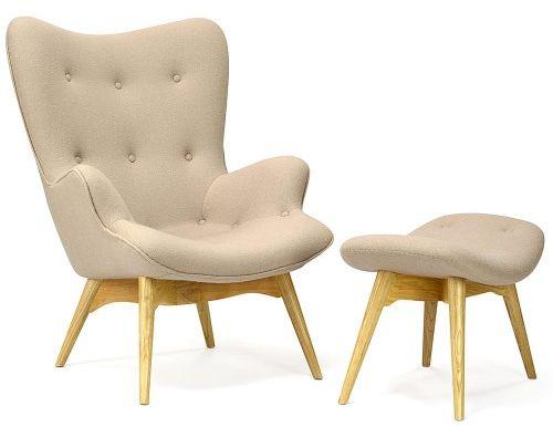 Fotel z podnóżkiem - inspirowany proj. Grant Featherston