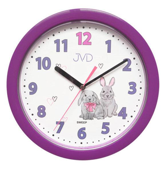 Zegar ścienny JVD HP612.D2 Cichy mechanizm - biały fioletowy