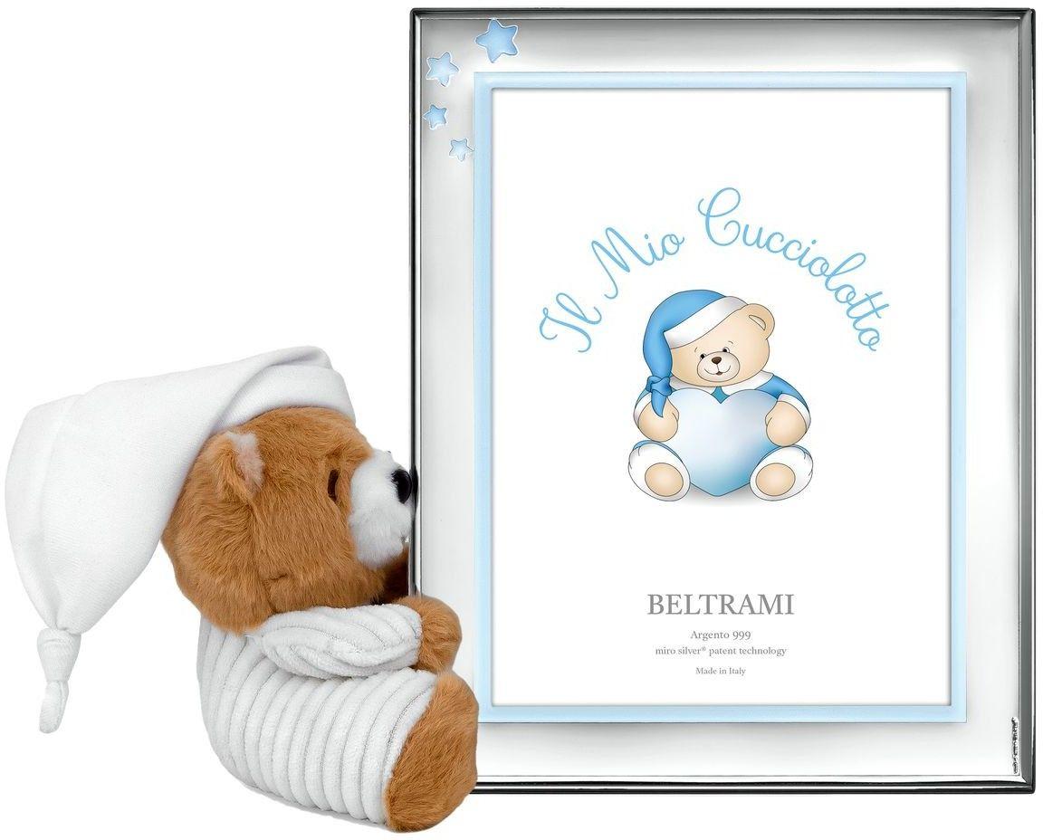 Ramka dziecięca z Gwiazdkami i pluszowym misiem Rozmiar: 13x18 cm Kolor: Niebieski SKU: BC3833/4C