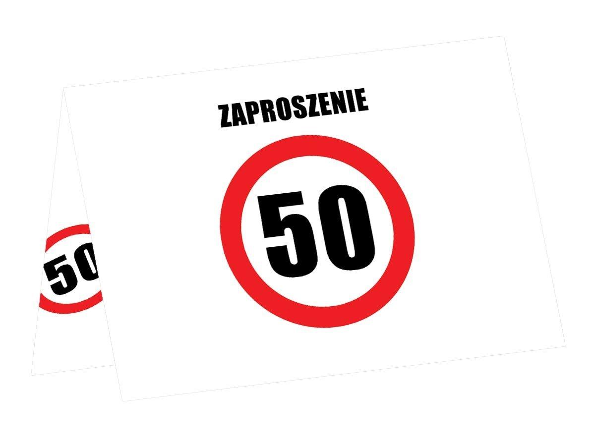 Zaproszenia na 50-tke znak zakazu - 6 szt.