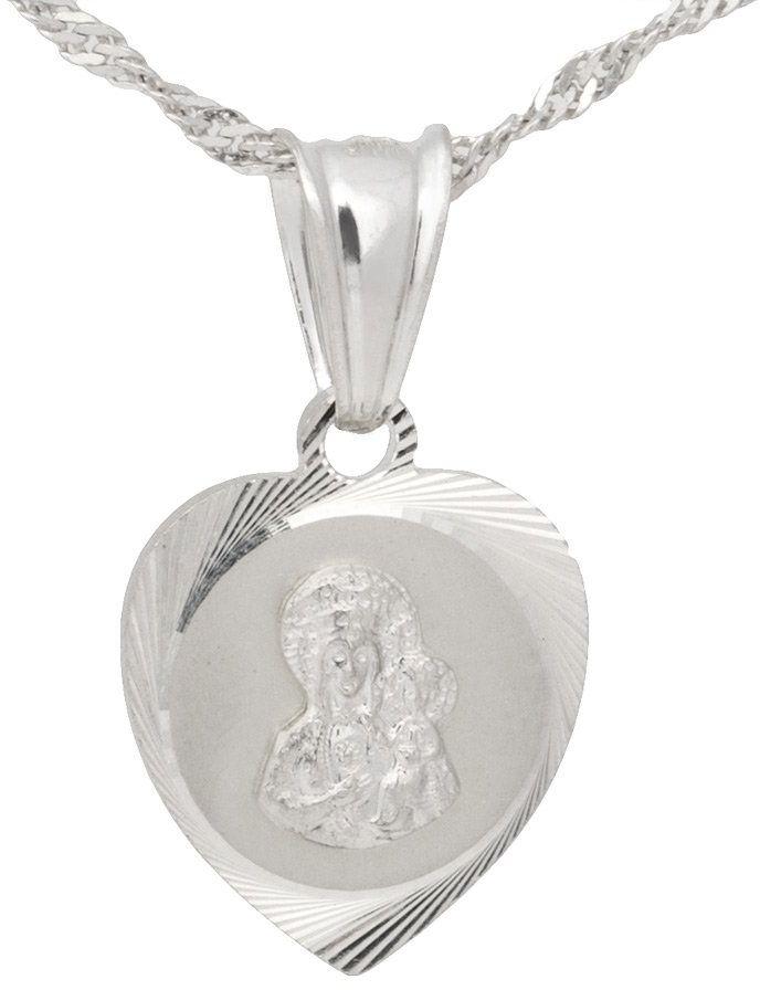 Srebrny medalik serce Matka Boska Częstochowska pr. 925 PREZENT