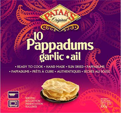 Indyjskie placki papadam z czosnkiem, pikantne 100g - Patak''s Original