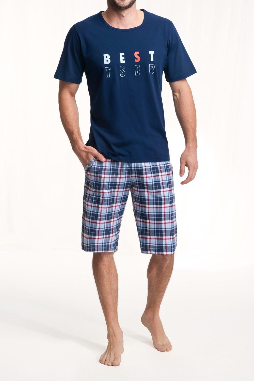 Bawełniana piżama męska LUNA 718 granatowa