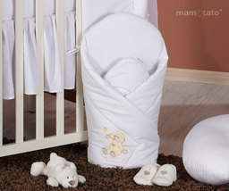 MAMO-TATO Rożek niemowlęcy usztywniony z haftem Miś na chmurce w bieli