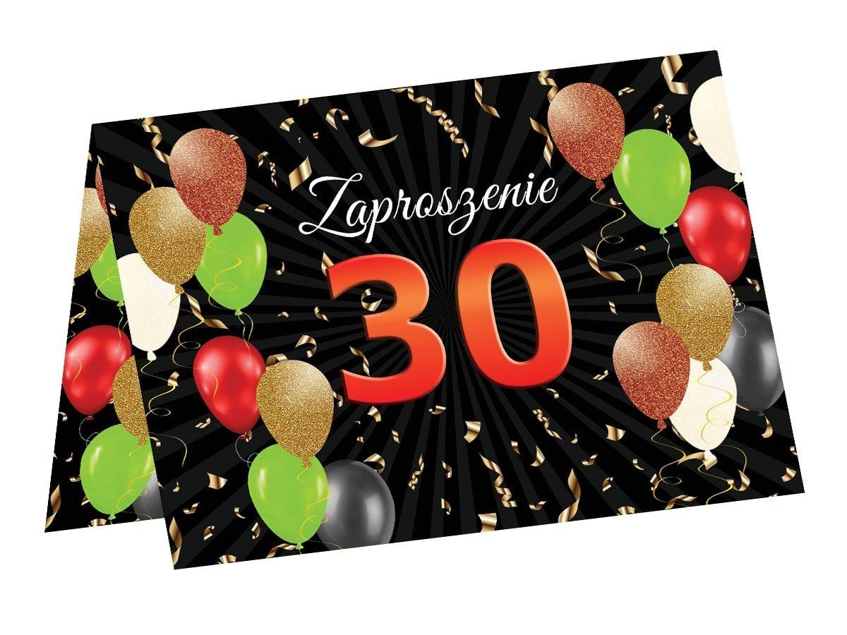 Zaproszenia na 30 urodziny - 6 szt.