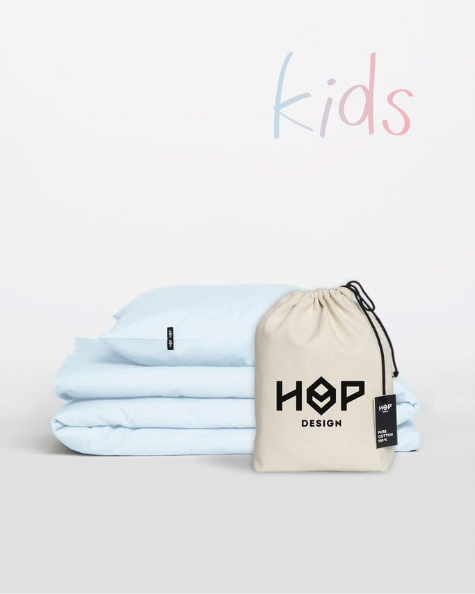 Pościel Perkal 100x135 Hop Design Kids Pure Pastelowy Błękit