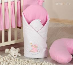 MAMO-TATO Rożek niemowlęcy usztywniony z haftem Miś na chmurce w różu