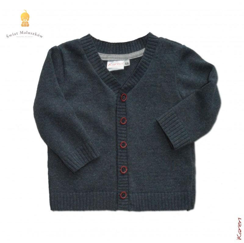 Granatowy Sweter na guziczki dla chłopca r.62-98