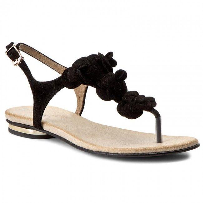 Sandały R.POLAŃSKI - 0830 Czarny Zamsz