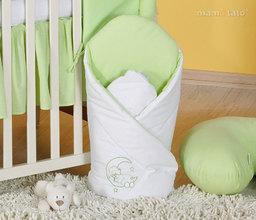 MAMO-TATO Rożek niemowlęcy usztywniony z haftem Miś na księżycu w zieleni