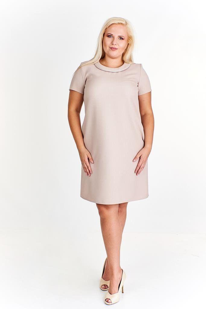 Sukienka FSU670 BEŻOWY CIEMNY