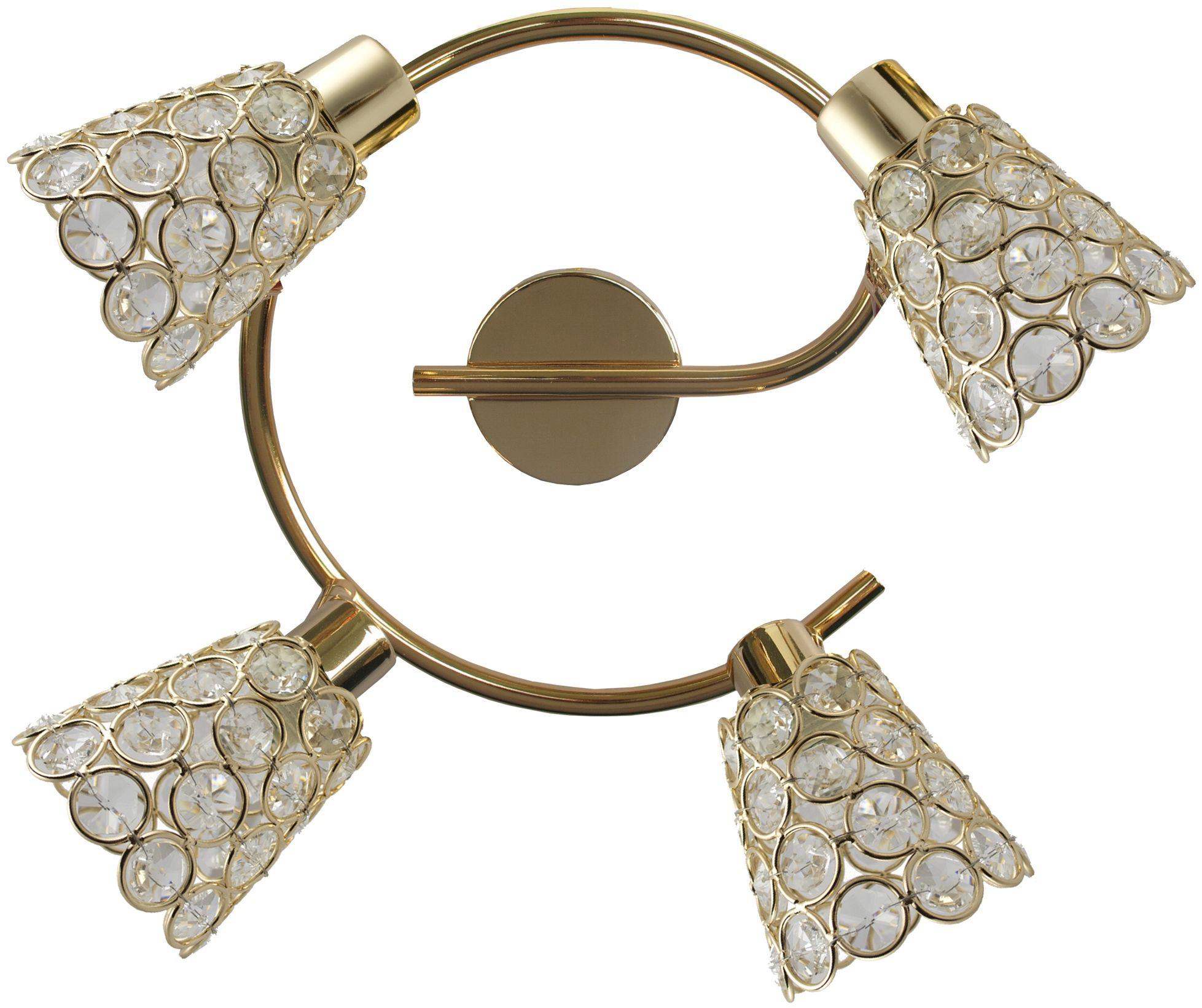 Candellux GLOSSY 98-00484 plafon lampa sufitowa spirala mosiądz kryształki 4X40W G9 44cm