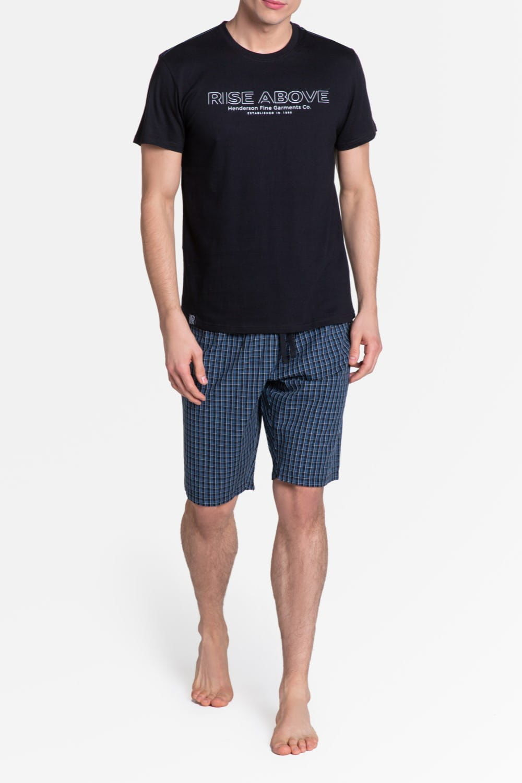 Bawełniana piżama męska Henderson 38883 Dojo czarna