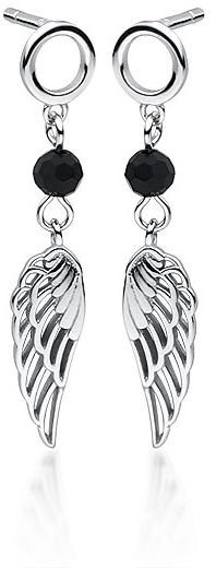 Delikatne rodowane srebrne wiszące kolczyki celebrytka skrzydła skrzydełka wings cyrkonie srebro 925 Z1708E_B