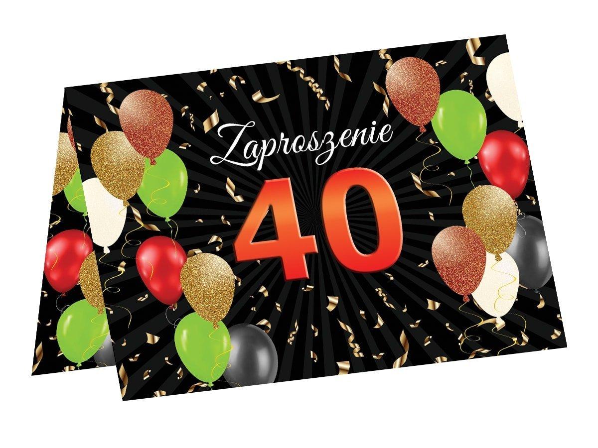 Zaproszenie na 40 urodziny - 6 szt.