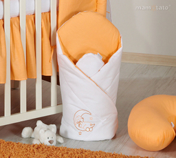 MAMO-TATO Rożek niemowlęcy usztywniony z haftem Miś na księżycu w łososiu