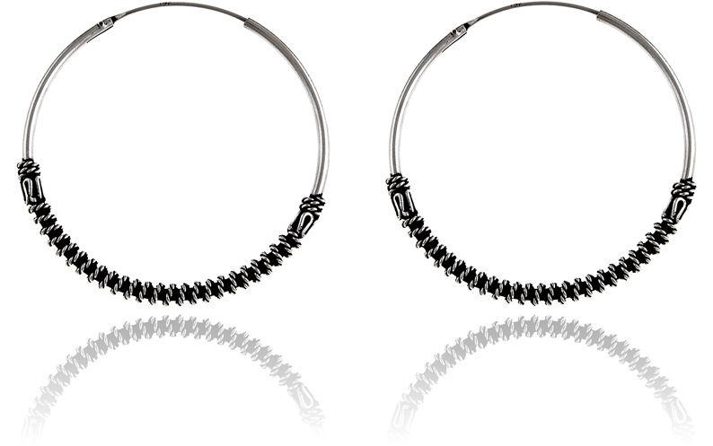 Oksydowane srebrne okrągłe kolczyki duże koła 3,8cm z ozdobą srebro 925 K2903