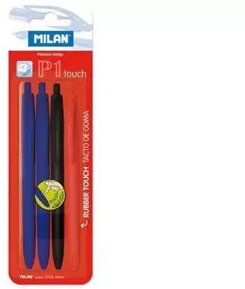 Długopis P1 Touch 2*nieb.+czar.+czer. (4szt) MILAN