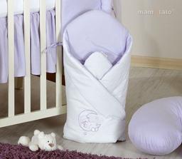 MAMO-TATO Rożek niemowlęcy usztywniony z haftem Miś na księżycu w fiolecie