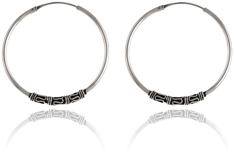 Oksydowane srebrne okrągłe kolczyki duże koła 3,4cm z ozdobą srebro 925 K2904