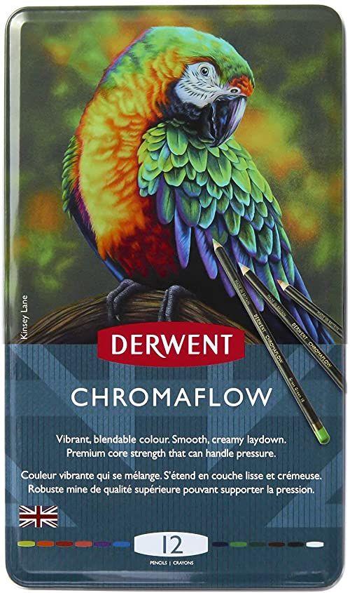 Derwent, 12 Kolorowycb Kredek Derwent Chromaflow do Rysowania i Szkicowania, Rdzeń 3,5 mm, Łatwe Blendowanie, Metalowe Pudełko (2305856)