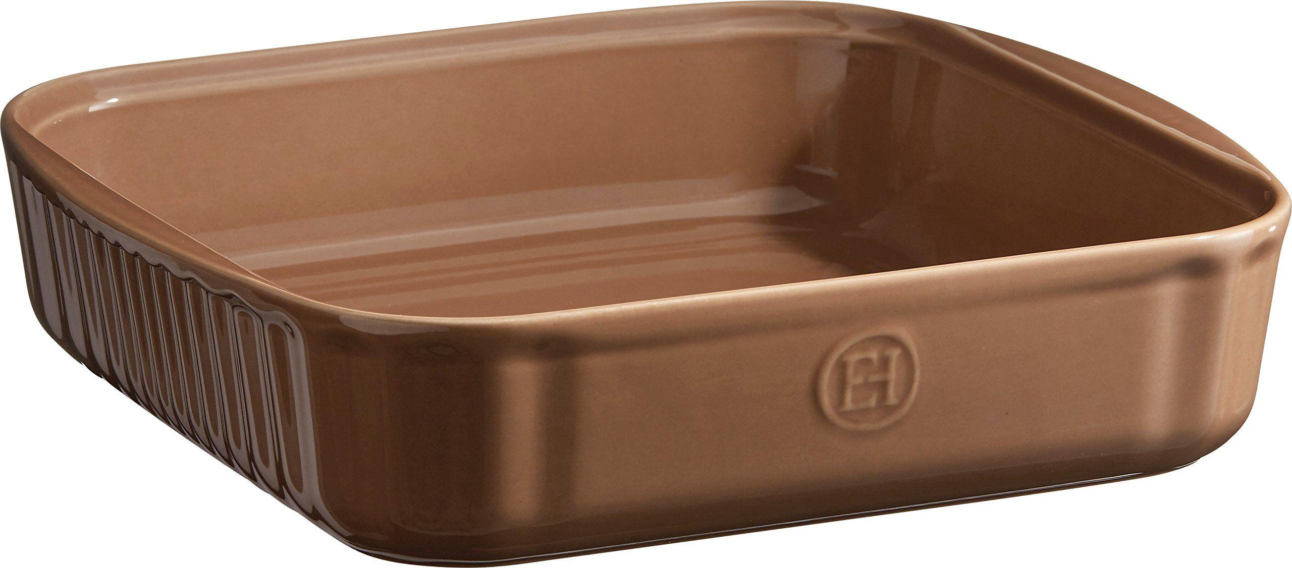 Emile Henry ceramiczna eh952080 kwadratowa forma do pieczenia 28 x 26 x 6,5 cm, ceramika, drewno bukowe, 24 cm