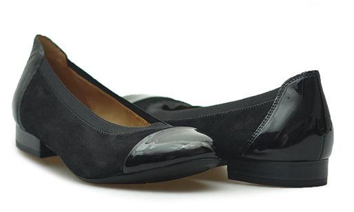Baleriny Caprice 9-22152-29 Czarne zamsz + lakier