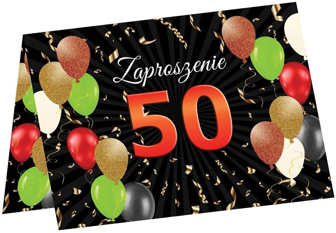 Zaproszenia na 50 urodziny - 6 szt.
