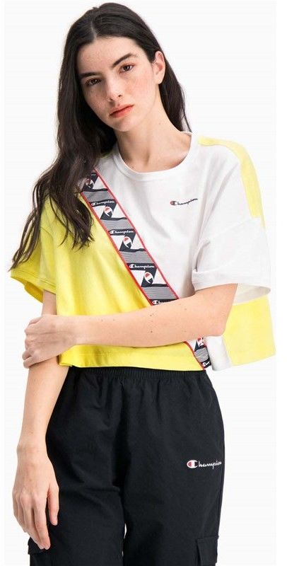 koszulka CHAMPION - Colour Block Jacquard Logo Tape Cropped T-Shirt (YS004