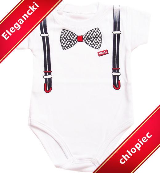 Body dla niemowląt krótki rękawek Mały Elegant z muszką i szelkami